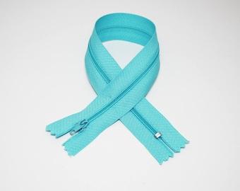 Zip closure, 30 cm, turquoise, not separable