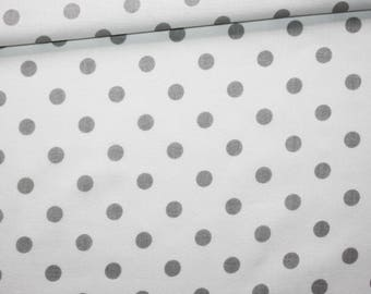100% cotton fabric printed 50 x 160 cm pattern grey dots on white background