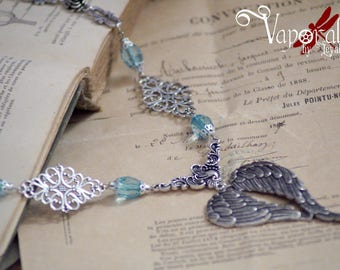 Necklace Steampunk Victorian wings silver blue pearl filigree flower