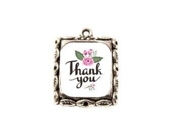 Thank you rectangle resin cabochon pendant