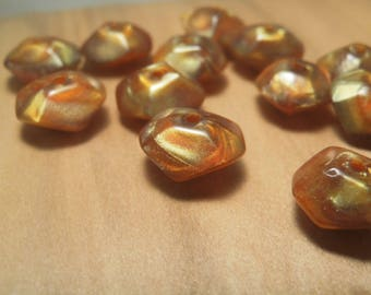 40 Pearl bicone beads 13mm Brown amber