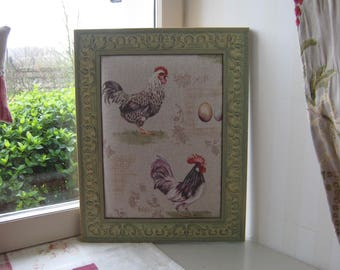"""Frame """"hen and rooster"""" country style"""