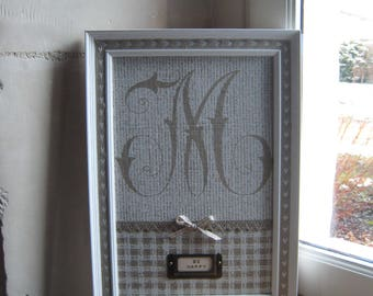 """Frame coated initial """"M"""" label holder """"Be Happy"""" country chic style"""