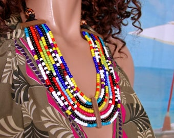 African necklace pastron Kailla seed beads