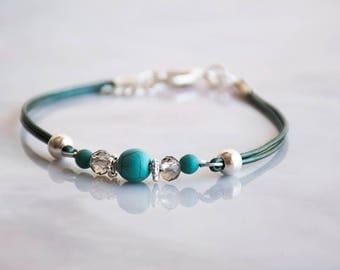 Turquoise Beads Bracelet, Silver Bracelet For Women, Leather Bracelet, Silver Beads Bracelet, Delicate Bracelet, Glass Beads Bracelet, Gift.