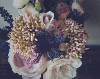 vintage wedding bouquet, faux wedding bouquet, wedding bouquet, pale pink bouquet, purple bouquet, wild flower bouquet, rustic bouquet