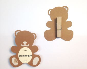 Mark up bear with wooden pin, personalized, dimensions: 5.2 6.2 cm paper 210g
