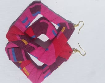 Pink madras square hoops