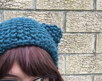 Beanie with ears, pattern - seed stitch.