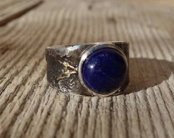 Silver ring, ring man ring lapis lazuli, silver ring gold, Signet Ring, oxidized ring, black, blue stone ring, unique ring