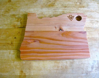 Oregon Shaped Handmade Redwood Serving Platter