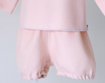 Bloomer for winter in powder pink wool baby size 3 / 6 months