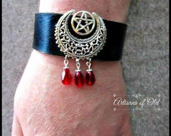 Gothic Pentacle Cuff, Black Leather Cuff, Leather Bracelet, Crystal Teardrops, Crescent Cuff, Filigree Crescent, Silver Pentacle Cuff