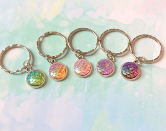 Mermaid Scales Keychain Keyring, Mermaid Party favor favours birthday, party bag fillers, bag charms, slumber party favours Kid party gift