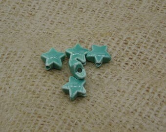 5 handmade 15mm turquoise ceramic star beads
