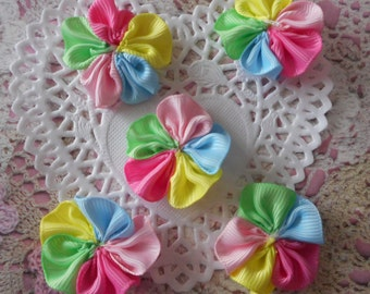 Flowers grosgrain polyester multicolored sewing or craft 3,50 cm in diameter (with 5 flowers)