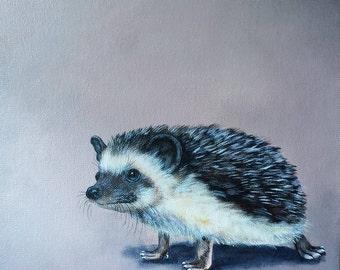 Hedgehog art; original acrylic hedgehog art; hedgehog decor; acrylic painting on canvas; hedgehog gift; hedgehog painting; exotic pet gift