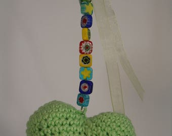 Green crochet bag charm and beads millefiori