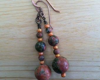 Orange and green unakite stone and glass beaded dangle earrings