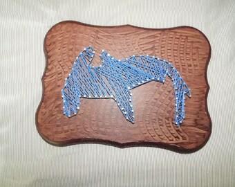 Blue Hammerhead Shark String Art