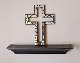 Broken Mirror Wooden Cross