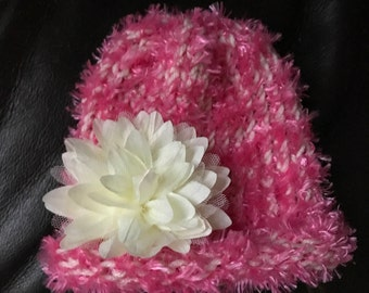 Pink and beige beanie with removable  flower - Infant
