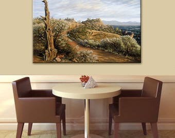 Smith Rock Painting | Central Oregon Wall Art | Red Rock Art | Hiking Trail on Smith Rock | Landscape Painting | Canvas Print Wall Art