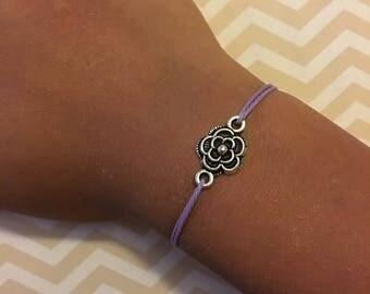 flower bracelet, flower string bracelet, adjustable flower bracelet