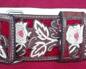 Artisan Hand Stitched Belts - Cinto Pitiado Pita Fina - Red Roses