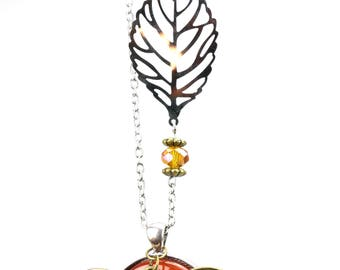 Dragonfly - carnelian stone pendant necklace