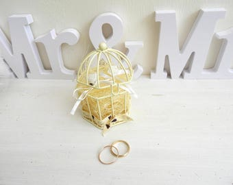 Ring bearer for wedding bird cage theme ecru / white - support rings-romantic wedding, shabby chic style