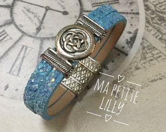 Bracelet girl pallette blue leather with a magnetic closure