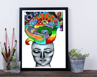 Creativity Thoughts Original Art Painting Print