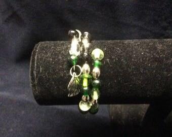 Leafy Green Memory Wire Bracelet