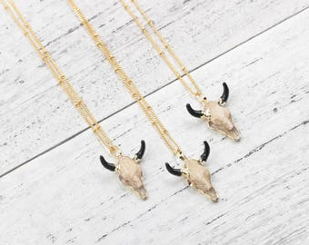Bull Skull Necklaces With Satellite Chains Small Cow Head Charm For Bridesmaids Jewelry Party Gift Natural Gemstone Necklaces