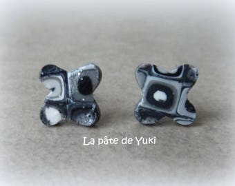 Black gray white clover hand made polymer clay earrings