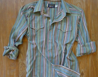 Vintage Pearl Snap Western Shirt - Multi Color Striped