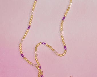 Yellow and Purple Beaded Necklace