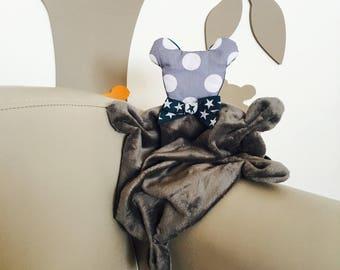 VELVET gray and teal bear baby blanket/plush