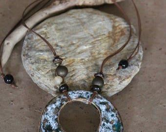 ceramic Bead Necklace in ethnic style