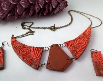 orange and bronze ethnic bib necklace antique