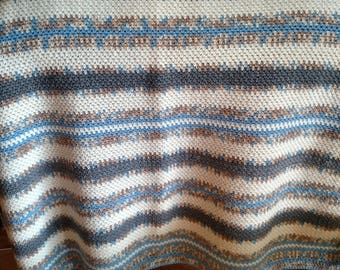 Blue & Gray Striped Lap Throw