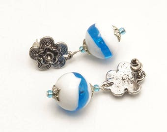 Earrings dangle earrings Pearl Earrings glass Lampwork blue white - A58