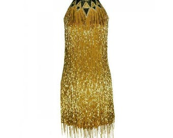 BOB MACKIE rare-1980s, Embroidered with Bead work Shimmying Fringes Size 10