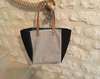 China gray and black tote bag