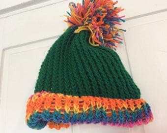 Rainbow Bright Hat w/ MEGA POM