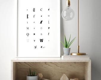 Alphabet poster, Alphabet Print Digital Download, alphabet nursery wall art, abc art, modern kids room art, abc wall art, black modern art