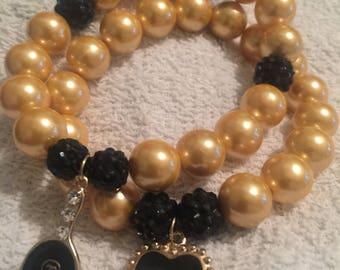 Beautiful Black and Gold Bead Bracelet Set