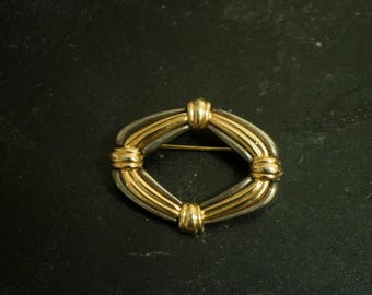 Two-Tone Contemporary Roped Brooch
