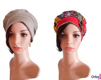 """Beret chemo REVERSIBLE """"L"""" Wax fabric & its removable fabric flower"""